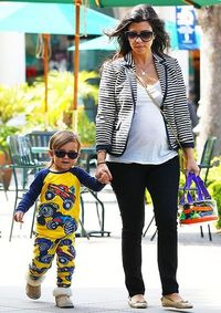 Kourtney K looks fashionable and Mason looks so cute in his PJ's