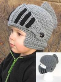 This crochet knight helmet is the most popular hat we have. It's great for all ages and the visor lowers to become a face warmer!