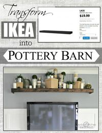Easily turn an Ikea floating shelf into a Pottery Barn knock off. #ikeahack #potterybarndecor #diy