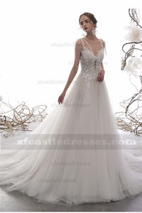 A Line Lace Tulle Wedding Dress with Long Train TB36