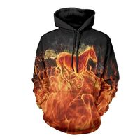 3D FIRE HORSE PRINT PULLOVER HOODIE