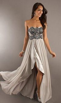 Long Nude Beaded Lace Top Strapless Prom Dress Sale
