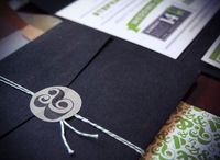 Navy + Lime + Grey wedding invitations designed by Brian Hurst