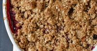 Healthy mixed fruit crisp - apples, berries, and or peaches, with a little cornstarch with a sweet crunch topping with whole oats, brown sugar, and cinnamon.
