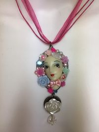 Doll Face Assemblage Gothic Pastel Punk Necklace $16.00