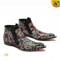 Men Leather Shoes | CWMALLS® New York Printed Leather Ankle Boots CW708007 [Patented Design]