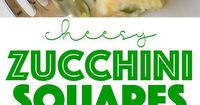 Cheesy Zucchini Squares - DELICIOUS side dish or breakfast casserole! Perfect way to use up all that yummy summer squash! Zucchini, flour, baking powder, milk,