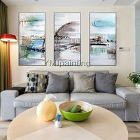 Original Abstract acrylic painting on canvas extra large 3 pieces Texture Wall Art Pictures for living room Home Decor Cuadros abstractos $175.29