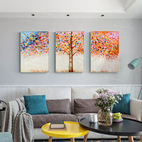Set of 3 wall art Gold blue palette knife paintings on canvas Original extra Large 3 pieces wall art texture abstract flower tree painting $189.00
