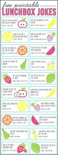 Free Printable Lunchbox Notes at The Crafted Sparrow #ParentingIdeas