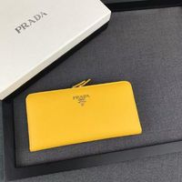 Prada 1M1246 Lettering Logo Saffiano Leather Wallet In Yellow