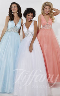 Plunging V-Neck Beaded Ballgown by Tiffany Designs 61135