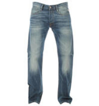 Replay Billstrong Mid Denim Straight Leg Jeans Button fly. Faded and worn patches throughout. 5 pockets. Replay logo to front pocket. Straight legs. Small sewn Replay logo to back pocket. Large Replay label to back waistband. Width of bottom hem - http://...