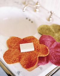 5 Quick and Easy Gifts to Knit (And Finish!) This Weekend | Flower Washcloths from Weekend Knitting by Melanie Falick