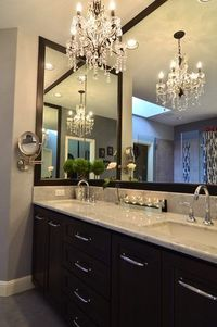 Bathroom: Corner mirror - what a great idea to take up that extra space of wall!