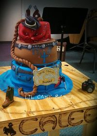 Country Girl Cake - I made this cake for my nieces 16th birthday and it traveled 8 hours to the party!! All pieces are made of fondant including the camera and boot. I also made the table/cake stand and personalized it with her name and other things aroun...