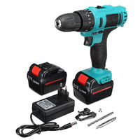 21V Cordless Brushless Impact Power Drill Electric Screwdriver Set with 2 Li-ion Batteries