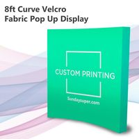 8ft Custom Print Curve Velcro Fabric Pop Up Display Trade Show $0.00