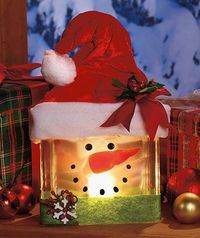 Lighted Glass Snowman :) (This is for sale but cute idea to make your own as well) #glassblock #snowman