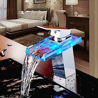 Contemporary LED Waterfall Pullout Spray Brass Chrome Bathroom Sink Faucets