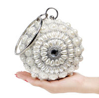 Women's Pearl Beaded Evening Bags Pearl Beads Day Clutch Bags Handmade Wedding Bags Gold silver Black High Quality purse $80.00