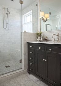 bathrooms - Restoration Hardware French Empire Extra-Wide Single Vanity Sink, Restoration Hardware Lugarno Sconce, frameless glass shower, r...