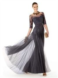Gorgeous 1/2 sleeves lace mermaid tulle black Prom Dresses PDM0189