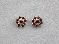 10 mm Round 9 Stone Cluster Swarovski Amethyst Crystal Magnetic Earrings $36.00 Designed by LauraWilson.com
