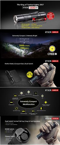 KLARUS XT2CR Camouflage XHP35 HD E4 6Modes 1600LM Rechargeable Tactical LED Flashlight