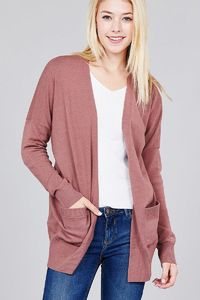 Ladies fashion long dolmen sleeve open front w/pocket sweater cardigan $30.00 (20% off with CODE: BESTDEAL)