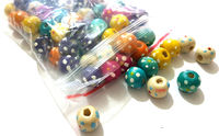 Pack of 100 Assorted Colours Round Speckled Wood Beads. 10mm Spotted Wooden Spacers. £6.99