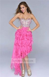 Hot Pink Beaded High Low Prom Dress For 2014 Homecoming