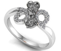 Silver Love Ring Flower Ring Promise Ring Unique Engagement Ring with Side Diamonds Floral ring Birthday Gift For Her $367.15