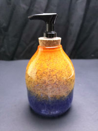 Hyacinth, Yellow, and Orange Glass Soap Dispenser - About 5.5 inches tall $35.00