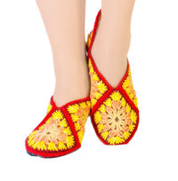 Yellow slippers socks for winter, as cute Christmas gift for girlfriend, eco vegan friendly shoes. Slippers size 5 6 7 $35.00