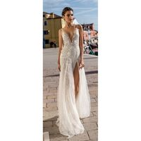 Gali Karten 2018 Ivory Sweep Train Split V-Neck Sleeveless Aline Embroidery Lace Bridal Gown - Customize Your Prom Dress