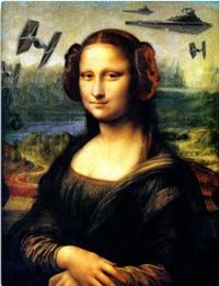 Star Wars Canvas Print Leonardo Da Vinci painting Mona Lisa has her hair in buns of Princess Leia and in the background notice some Star Wars fighter ships.