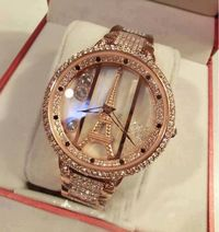 Luxurious Delicate Rhinestones Eiffel Tower Watch for Morden Lady