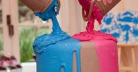 Gender reveal cake or boy/girl birthday party cake. Im going to do this and then the inside will be green and Ill be like Surprise! Im having an alien!