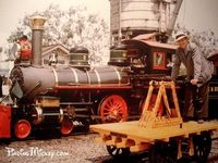 An early Disneyland photo of Walt Disney and the Kalamazoo Handcar in front of the E.P. Ripley in Frontierland. According to the Kalamazoo Manufacturing Company website, the handcar was made for Walt Disney in 1957. I live in Kalamazoo!