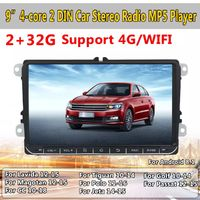9 Inch for Android 8.1 Car Stereo MP5 Player Quad Core 2+32G 2 DIN Touch Screen GPS WIFI 4G 3G AM FM for VW Skoda Seat