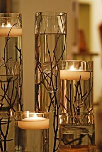 Tea light candle centerpieces are a big wedding trend and are so easy to recreate! Here's how�€� You will need: floating tea light candles vases decor (flowers, t