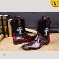Men Leather Boots | CWMALLS® Mexico City Leather Exotic Dress Boots CW750126