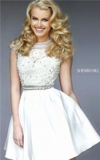Ivory Short Sherri Hill 32317 Open Back Lace Homecoming Dress