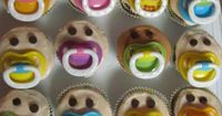 Adorable Pacifier Cupcakes ~ Baby Shower (no link to recipe was available)