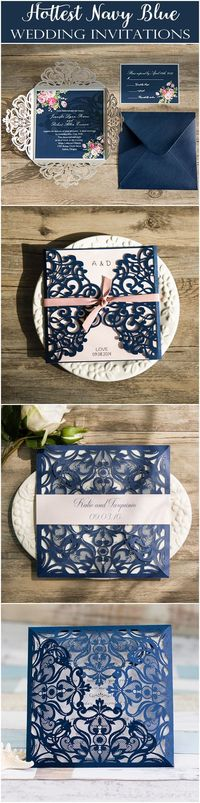 Elegant Wedding Invites offers affordable navy or blue wedding invitations in all shades and all styles. We offer high quality, unique designs, and coordinating