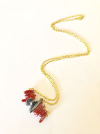 """Red and Black Necklace on 20"""" gold chain, Women's Jewelry, Gift for a friend $25.00"""