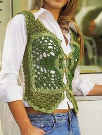 Crochet green vest �™�LCT�™� with diagram, simple work.excellent for begginers