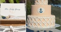 Yellow Nautical Wedding Cake with White and Navy Accents