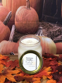 Hand Poured Pumpkin Pie scented all natural soy wax container candle infused with essential oils 8oz $13.00